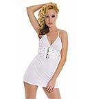 Белое платье с пряжками